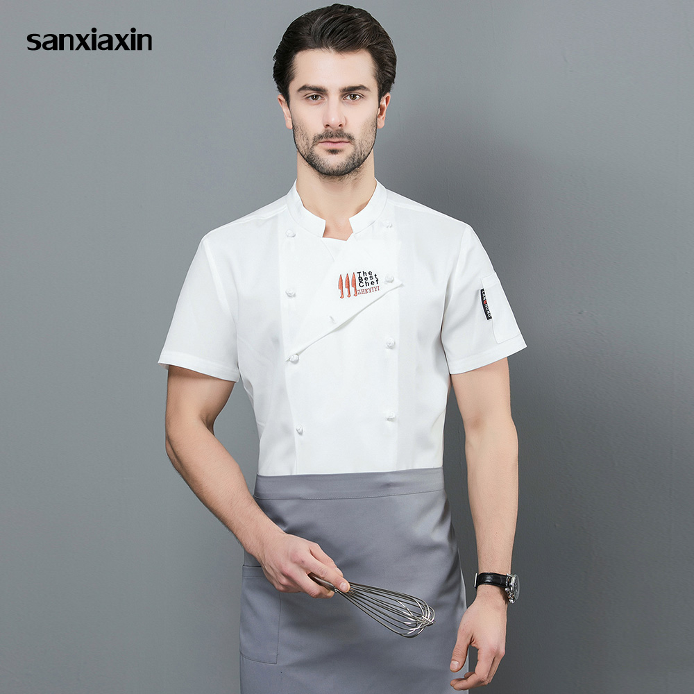 Double-breasted Food Service Chef Jacket Restaurant Uniform Embroidery Short Sleeved Hotel Kitchen Work Clothes Men New 3-colors