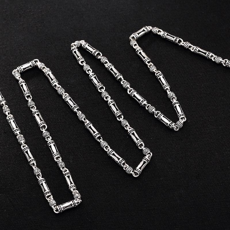Long Necklace Silver 925 Slub Shape 46cm-76cm Long Link Chains Necklace Statement For Women HN059 ringer slub shorts