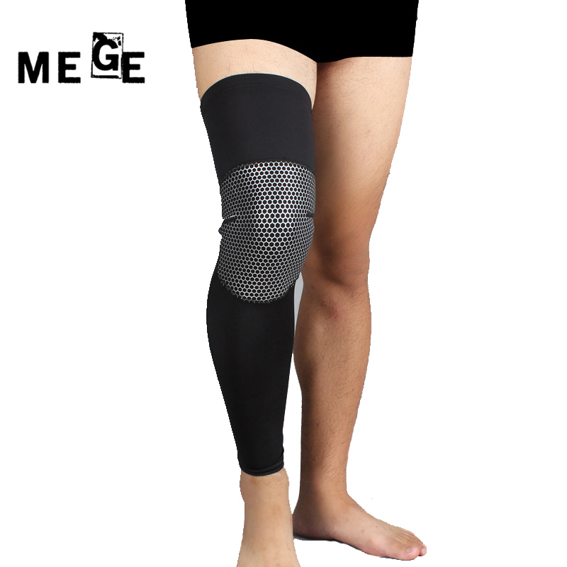 MEGE Brand Leg Sleeve Professional Basketball Knee Pads Lengthen Non-slip Sport Protector Running Cycling Leg Warmer