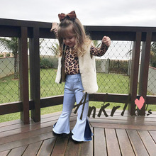 ANKRT Bell-bottomed Pants Elastic Waist Children Kids Wide Leg Baby Girl Jeans Solid Infant Casual Trousers Fashion