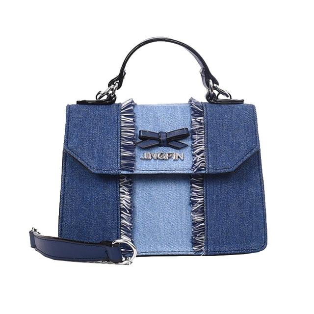 da34fcbcba03 Distressed Denim Women Crossbody Messenger Bag 2018 New Fashion Chain  Shoulder Bag Women s Handbag Jean Small Flap Bag
