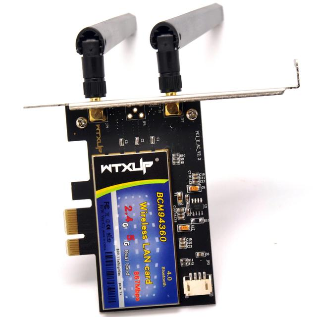 WTXUP Broadcom BCM94360CS2 1200Mbps 802.11ac Wireless PCI-E WiFi Adapter PCi Express Desktop PC Dual Band Card + Bluetooth 4.0