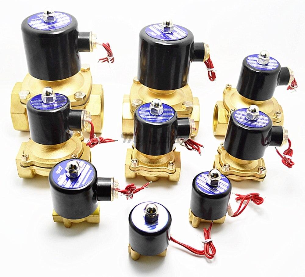 Eléctrica de 2 W de la válvula de solenoide latón válvula neumática NC para agua/aceite/Gas 1/8