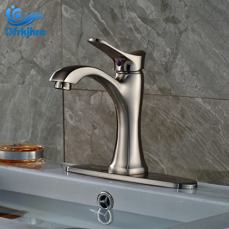 цена на Nickel Brushed Single Lever Basin Sink Faucet Taps One Hole Deck Mounted Bathroom Mixer Tap With 10  Cover Plate
