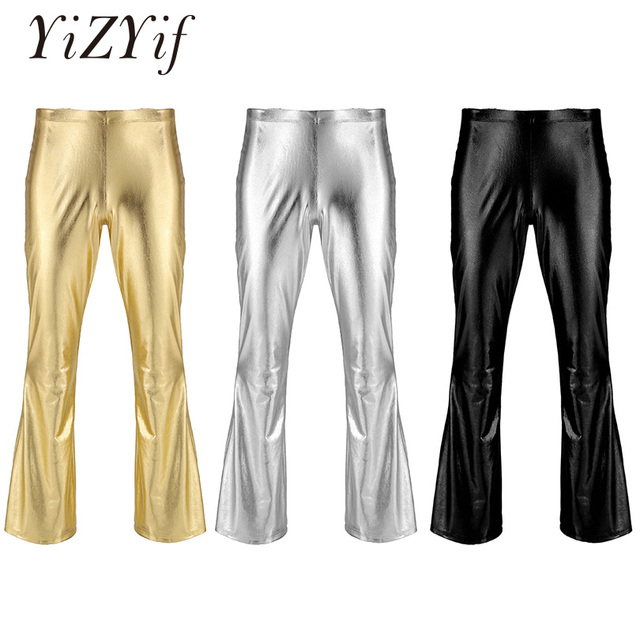 YiZYiF Men Shiny Metallic Disco Pants Bell Bottom Flared Long Pants Dude Costume Trousers Men's Flare Pants Flared Bell Pants 1