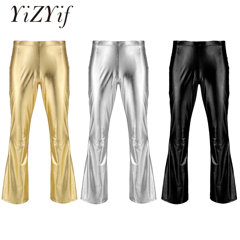 YiZYiF Men Shiny Metallic Disco Pants Bell Bottom Flared Long Pants Dude Costume Trousers Men's Flare Pants Flared Bell Pants