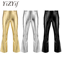 YiZYiF Men Shiny Metallic Disco Pants Bell Bottom Flared Long Pants Dude Costume Trousers Men's Flare Pants Flared Bell Pants