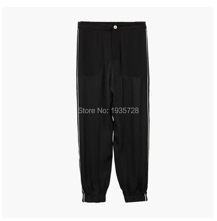 Garniture Pyjamas Assorti Femmes Noir Pièces Applique Contraste Strass Blouse Avec 2018 Deux top Pcs Pantalon Abeille Perlé 2 Ensemble w64q48X