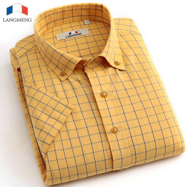 Langmeng 100% cotton 2016 plaid casual shirt men short sleeve office social dress shirts men slim fit camisa masculina