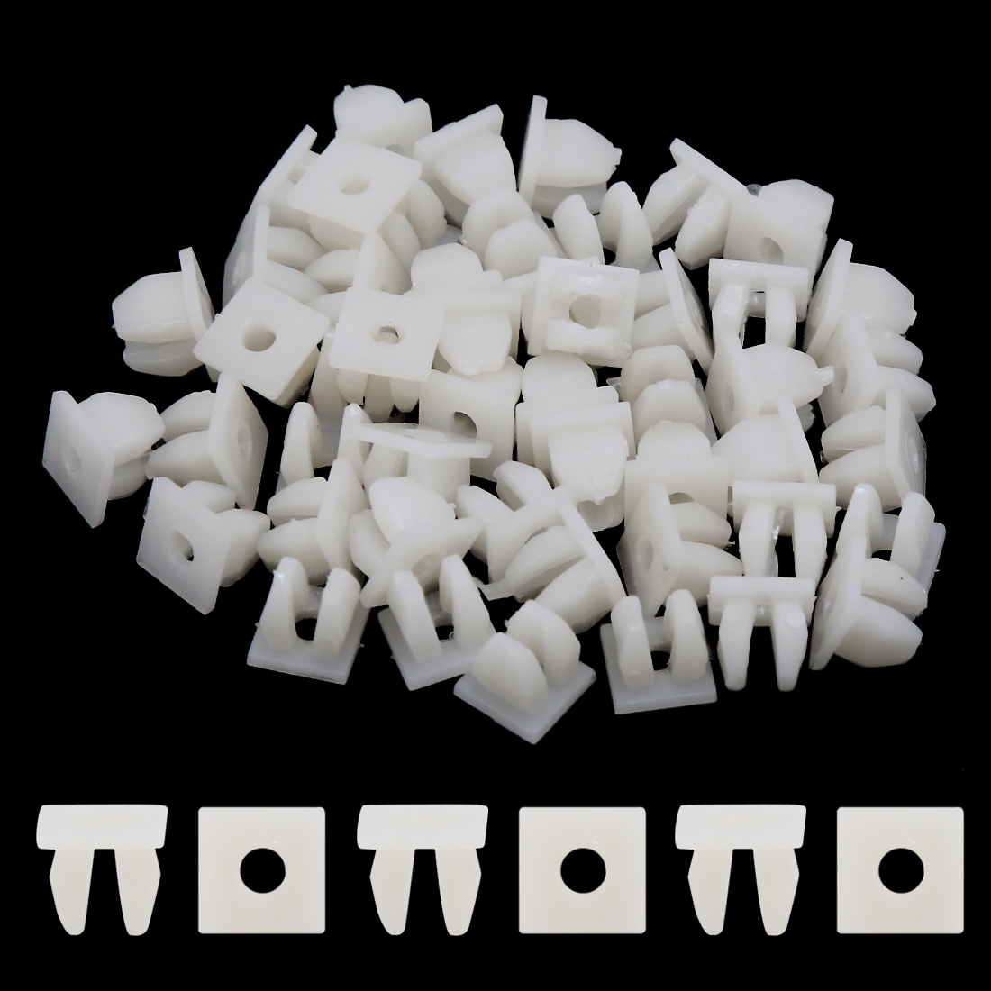100pcs White Square Car Bumper Rivet Retainer Fender Cover Screw For Renault Sandero Symbol Talisman Twingo Twizy Vel Satis Wind