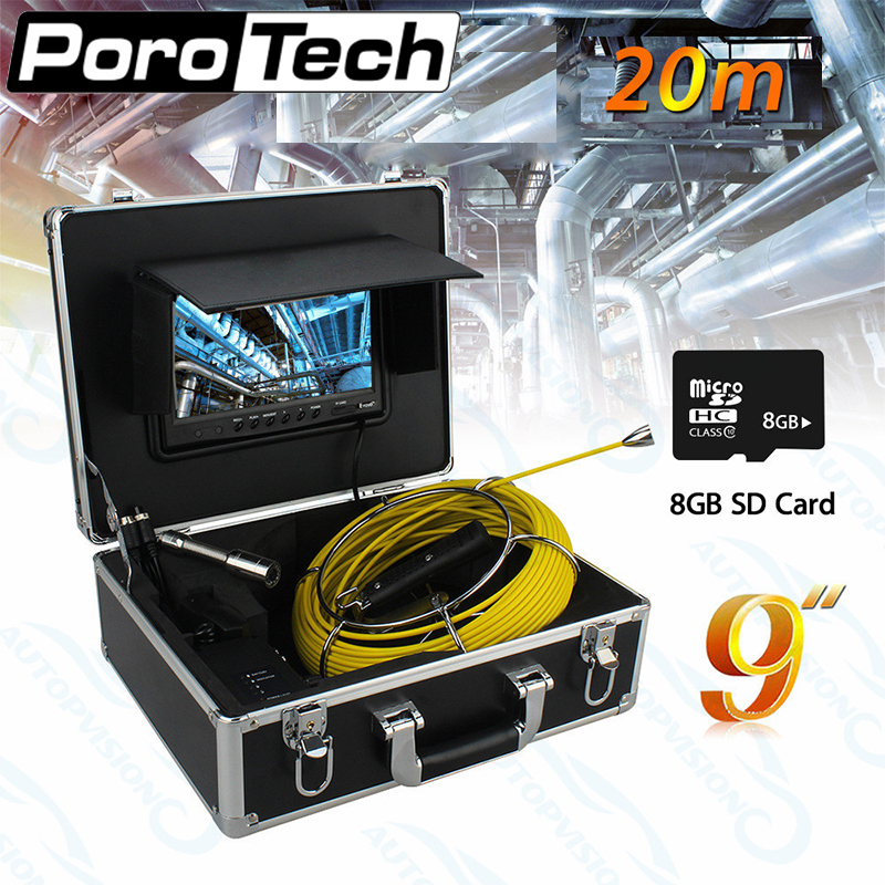 WP90A 20M Drain Pipe Sewer Inspection Camera IP68 Waterproof Industrial Endoscope with 9 LCD Monitor 12 LEDs yellow cable dhl free wp90 50m industrial pipeline endoscope 6 5 17 23mm snake video camera 9 lcd sewer drain pipe inspection camera system