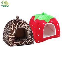 Plyšový domek pro domácí mazlíčky s leopardím/jahodovým potiskem