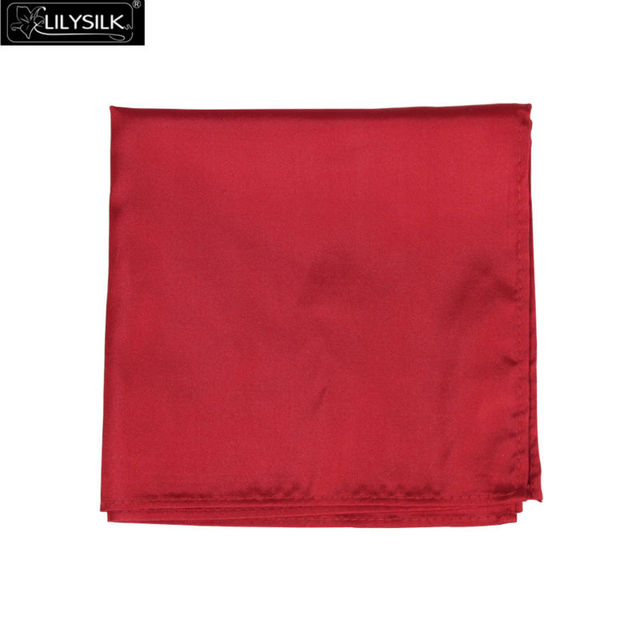 Lilysilk Mens Handkercheif Real de Seda de Lujo de Los Hombres de Bolsillo Cuadrado de Color Sólido Patrón de Color Rojo 2016 de Negocio Del Verano Trajes Accesorios