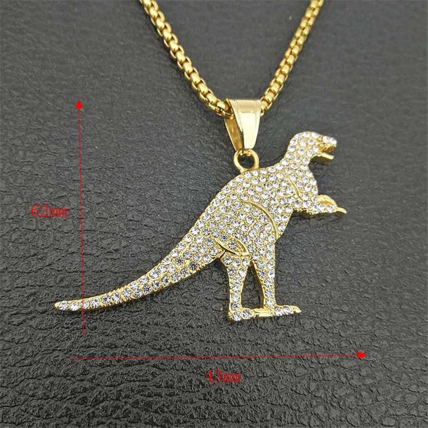 Hip Hop Tyrannosaurus Rex wisiorek naszyjnik ze stali nierdzewnej złoty kolor Iced Out pełne Rhinestone naszyjnik dinozaur dla mężczyzn biżuteria