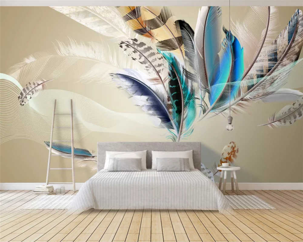 beibehang 3d wallpaper Europe and the United States modern popular colorful feather flying living room background wall paper