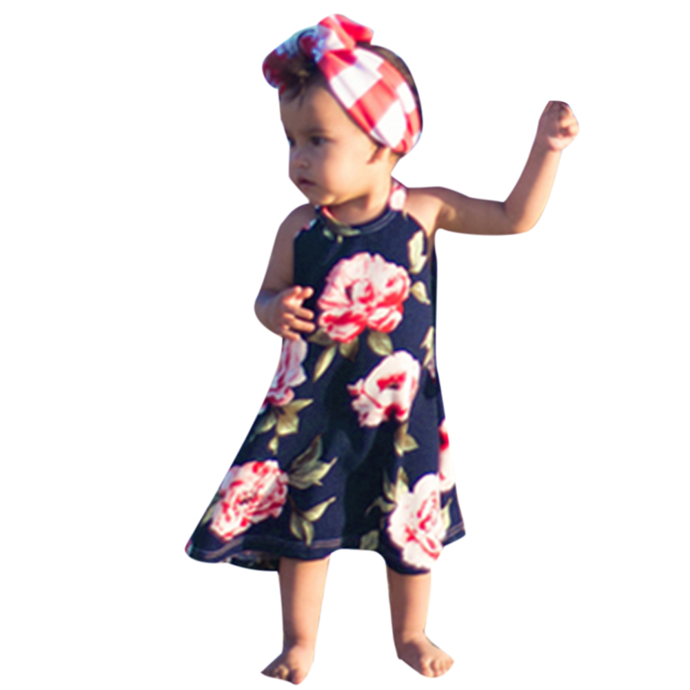 Family Matching Outfit Summer Fashion Baby Sleeveless Suspenders Long Floral Printed Daughter Dresses Mom Dress Clothes for 3-7Y