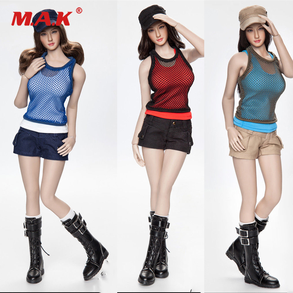 Sexy 1 6 Female Figure Clothes Accessory FGC2017 Girl Combat Short Fashion Short Clothing Shoes Hat