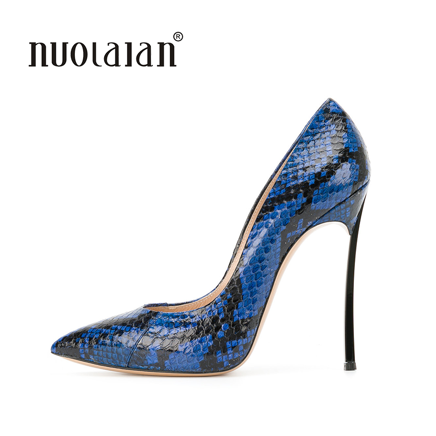 2018 Women Pumps Snake Printing Leather Super High Heels Sexy Ladies Pointed Toe Stiletto Pumps Slip on Heeled Party Shoes Woman