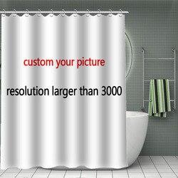 11.11 gorąca sprzedaż wydrukuj swój wzór  niestandardowa bambusowa zasłona prysznicowa kurtyna kąpielowa z tkaniny poliestrowej wodoodporna z haczykiem do łazienki