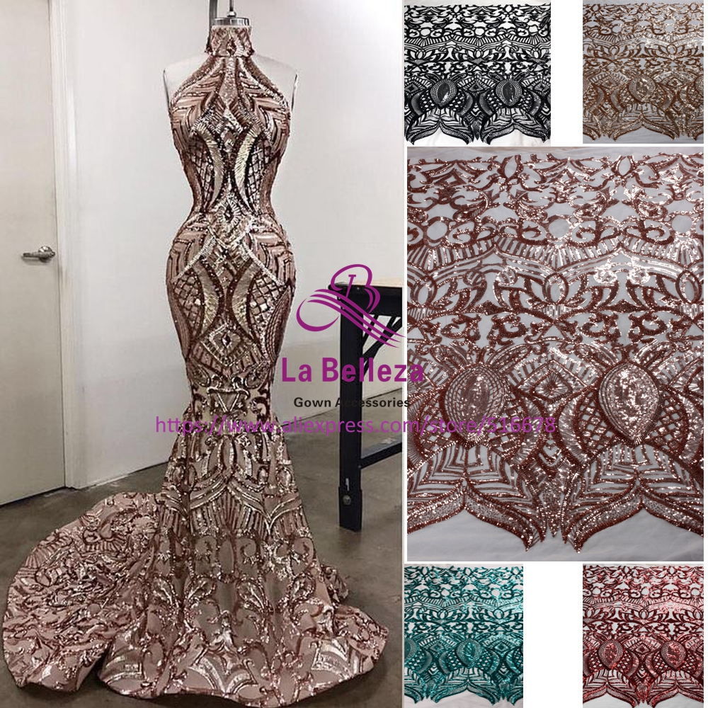 New fashion show 5colors sparkling sequins on Elastic mesh embroidery lace fabric wedding/party/evening dress 1yard