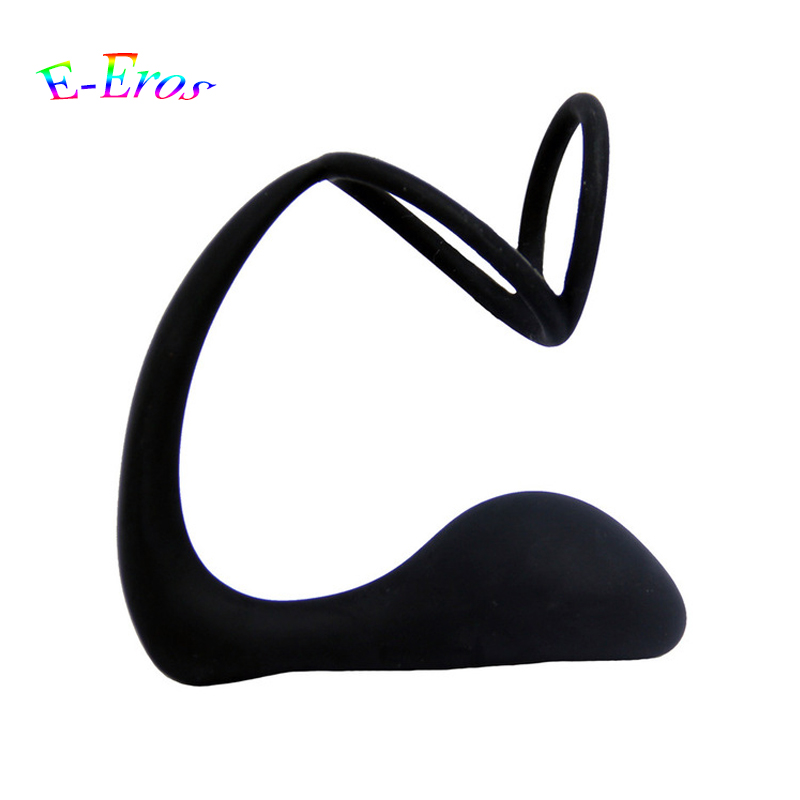 ORISSI Anus Toys Silicone Prostate Massager Dual Delay Lasting Cock Ring Anal Sex Toys Butt Plug For Men Adult Erotic Anal Toys