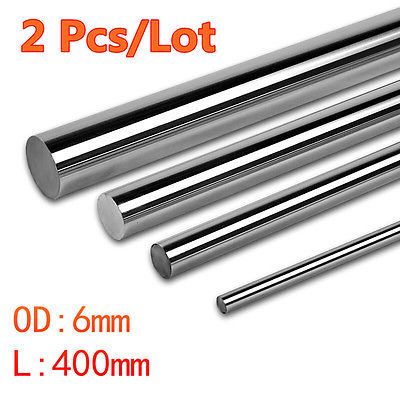 2 Pcs Cnc Linear Shaft Chrome OD 6mm L 400mm WCS Round Harden Steel Rod Bar New 2pcs cnc linear shaft chrome od 8mm l 300mm rail round steel rod bar cylinder