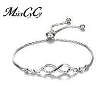 ca63892c60bb MissCyCy de cristal de lujo pulsera de plata Color ajustable infinito  pulseras del encanto para las mujeres joyería de moda 2018.
