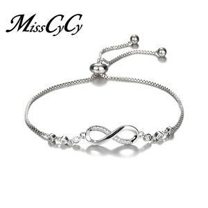 7721e6ce5a4 MissCyCy Crystal Silver Charm Bracelets for Women Jewelry