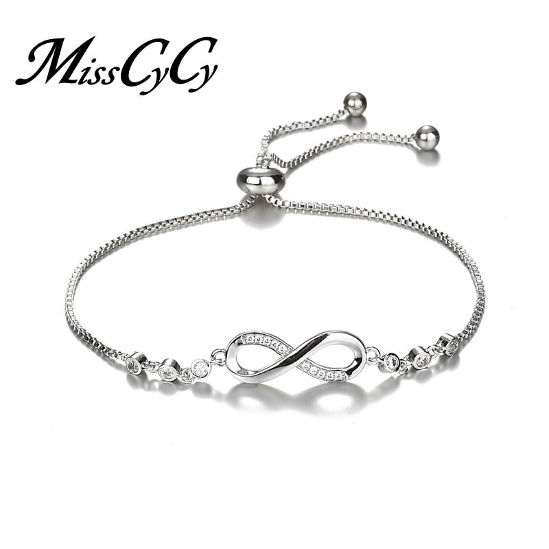 MissCyCy de cristal de lujo pulsera de plata Color ajustable infinito pulseras del encanto para las mujeres joyería de moda 2018 nuevo