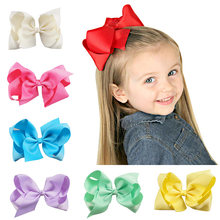 6 Inch Solid Ribbon Grosgrain Hair Bow With Clips For Kids Boutique Handmade Colorful Hairbows Girls Hair Accessories()