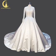 Rhine Real Sample Image Pictures Two Pieces Set Long Sleeves Lace High Neck Satin Ball Gown Bridal Wedding Gown wedding dresses