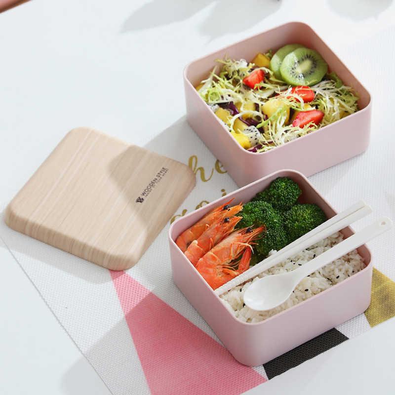 Praça Lancheira Microondas 2 Camada Japonês Bento Caixa Recipiente De Armazenamento De Alimentos para As Crianças Lancheira com Almoço Saco Portátil 1400 ml