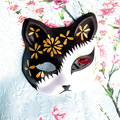 Half Face Hand-Painted Japanese Fox Mask Kitsune Golden Flower Pattern Cosplay Masquerade for Party Halloween A