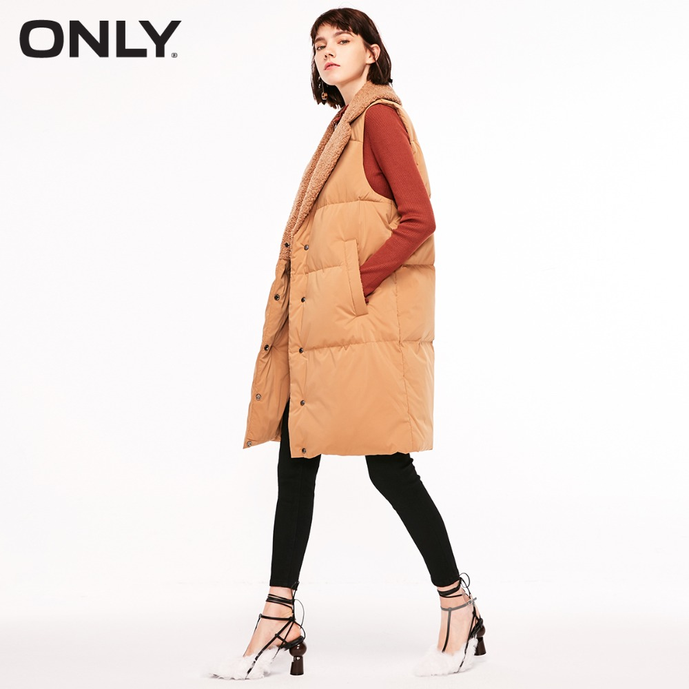 ONLY  Womens' Winter New Fur Collar Long Down Vest Snap Button Placket Simple And Versatile|118352504