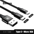 Baseus 2in1 Micro USB Type C Cable For Samsung Galaxy S9 S8 Plus Note8 For Oneplus 6 For Xiaomi Mi 6 A1 Type-C Charging Cable