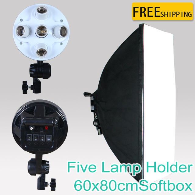 "NEW photographic lighting 5 Socket Lamp with 60x80cm/23""x31"" softbox Photo Video Light"