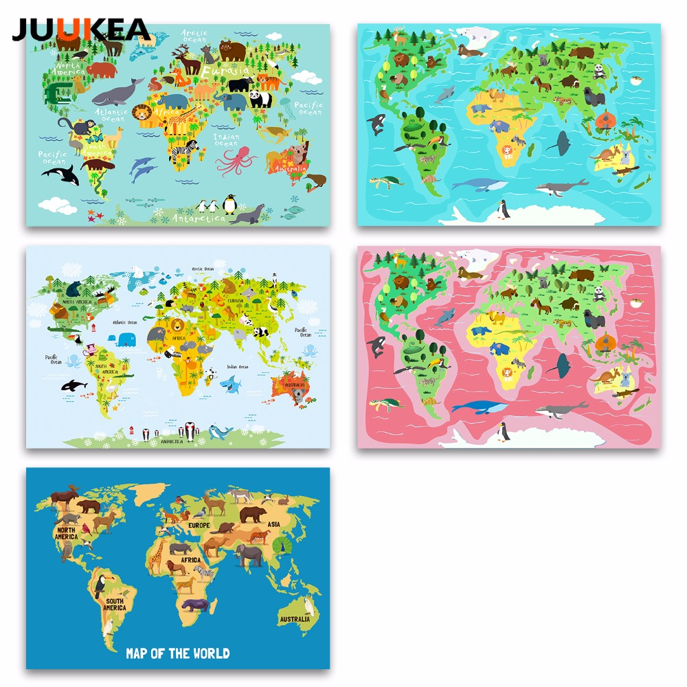 Nordic children kawaii cartoon animals world map canvas print nordic children kawaii cartoon animals world map canvas print painting poster wall pictures for kids room home decor in painting calligraphy from home gumiabroncs Image collections