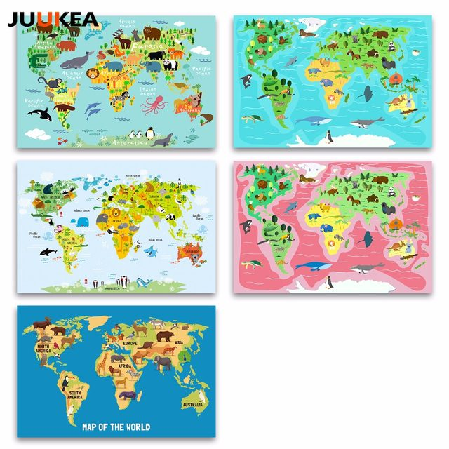 Online shop nordic children kawaii cartoon animals world map canvas nordic children kawaii cartoon animals world map canvas print painting poster wall pictures for kids room home decor gumiabroncs Images