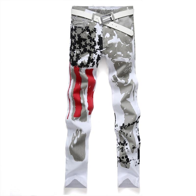 2016 Brand Men's Casual American US Flag Printe Jeans Pants Men Graffiti Print Stretch Jean UK White Denim Trousers size 44 46