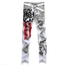 2016 Бренд мужской Случайные Американский Флаг США Printe Джинсы Брюки Мужчины граффити Печати Стретч Жан ВЕЛИКОБРИТАНИЯ Белый Джинсовые Брюки размер 44 46