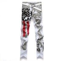 2016 Brand Men Casual American US Flag Printe Jeans Pants Men Graffiti Print Stretch Jean UK