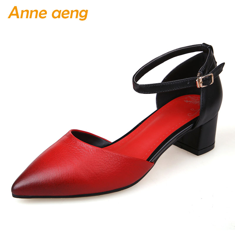 2019 New Summer Genuine Leather Women Ankle Strap Sandals Middle Square Heel Buckle Fashion Sexy Ladies