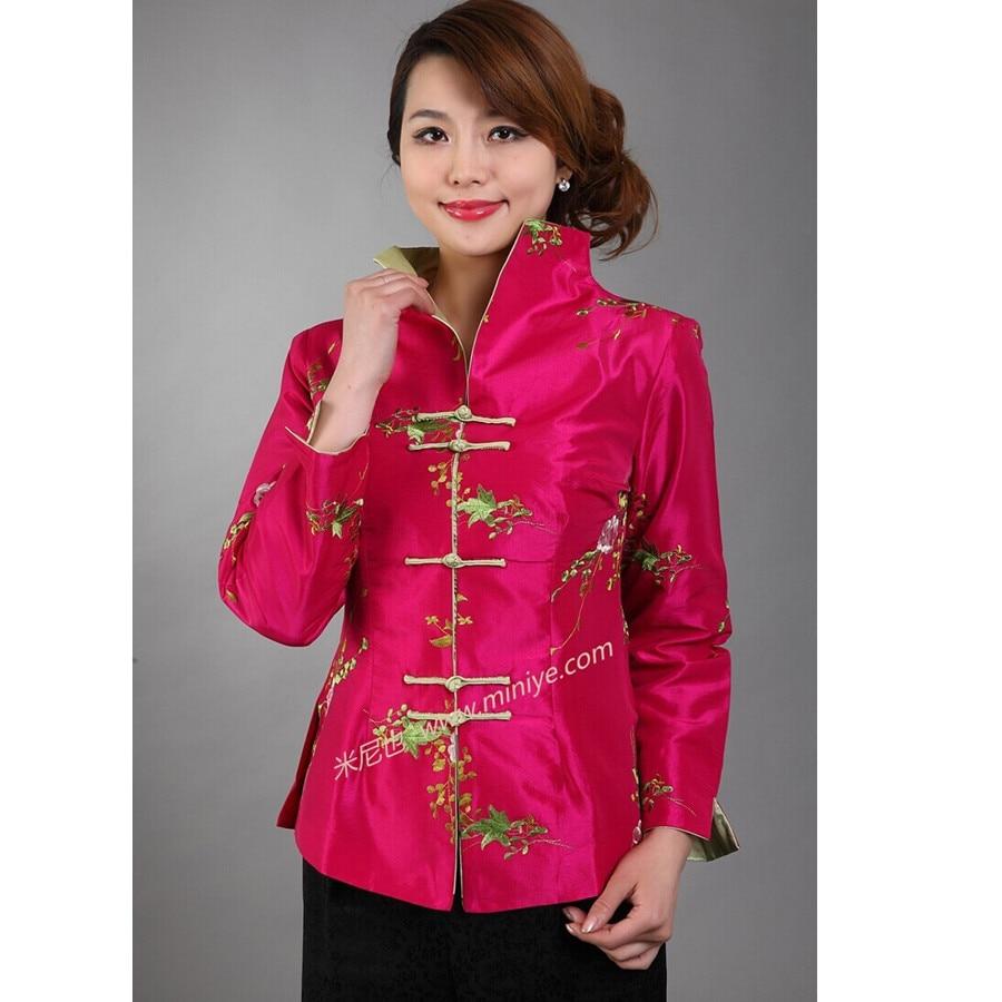 Hot pink tradicionales de las mujeres chinas de satén de seda bordado chaqueta e