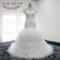 Rose Moda Short Sleeves Mermaid Wedding Dress Beaded Lace Africa Wedding Dresses Tulle Puffy Skirt 2018