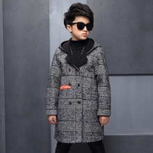 Kids boys winter padded jacket 2017 new baby boys fashion clothing big virgin woolen hooded coat 5/6/7/8/9/10/11/12/13 years