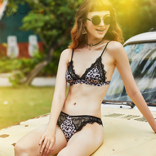 sexy mousse bra and briefs leopard women lingerie young girl lace bralette black white free comfortable new arrival