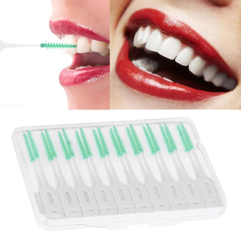 Mundhygiene 20 Teile/paket Weiche Silikon Zahnseide Interdentalbürste Einweg Zähne Stick Zahnstocher Zahnseide Zahn Pick Mundpflege Pinsel Sauber GroßE Sorten Dental Flosser