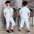 Летние детские дети мальчиков Gentlman детские свободного покроя с коротким рукавом блейзер пиджаки пальто + брюки 2 шт. одежда устанавливает костюмы S3097