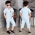 Verão de crianças meninos Gentlman casuais fino Blazer de manga curta Outwear casaco + calças 2 peças conjuntos de roupas ternos S3097