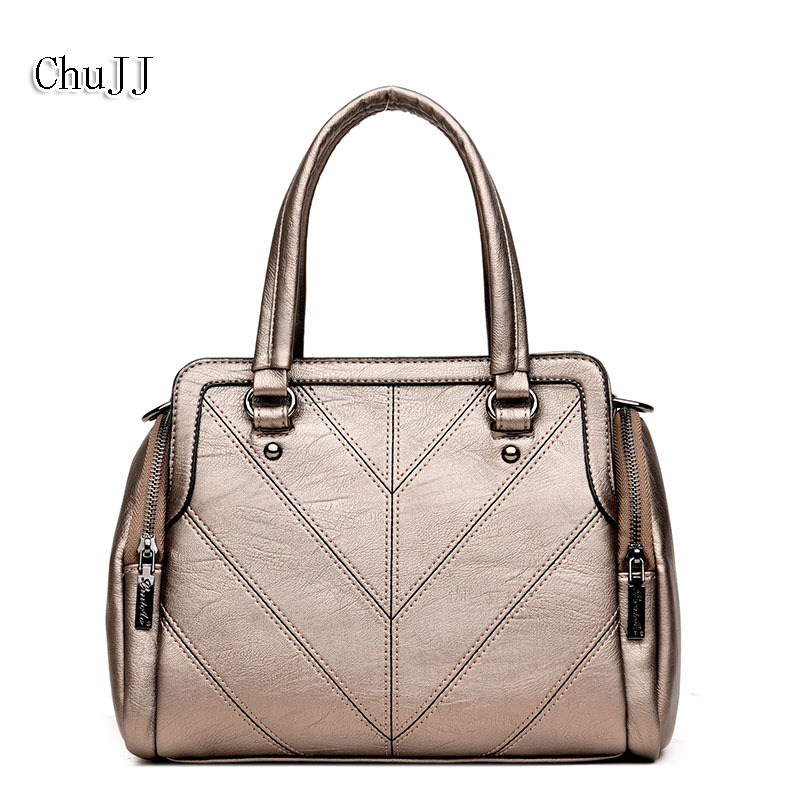Chu JJ Fashion Ladies Tote Bags Women Genuine Leather Handbag Simple Women Messenger Shoulder Crossbody Bag Bolsas Feminina women handbag genuine patent leather crossbody shoulder bag women leather handbags messenger bags ladies tote bolsas purse 3 set